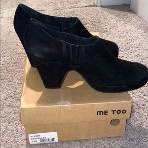 Me Too Black Suede Ankle Bootie